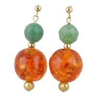 Jade Pearl and Amber Earrings Dangle Drop Earrings 14k Yellow Gold