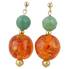 Jade Pearl and Amber Earrings Dangle Drop Earrings 14k Yellow Gold