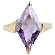 Purple Amethyst Ring 10k Yellow Gold Size 6