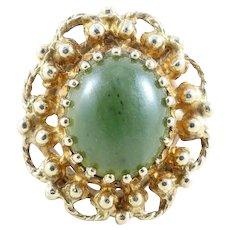 Jade Ring 10k Yellow Gold Size 6 1/2 Statement Ring