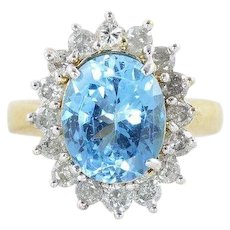 Natural Blue Topaz and Diamond Ring 10k Yellow Gold Size 6 1/4 Cocktail Ring