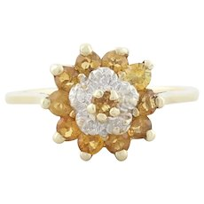 Citrine and Diamond Flower Ring 10k Yellow Gold Size 6