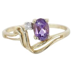 Amethyst and Diamond Ring 10k Yellow Gold Size 6