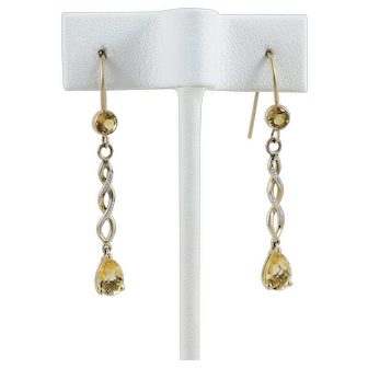 Golden Citrine Dangle Drop Earrings 14k Yellow Gold and Plated Hooks