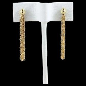 14k Yellow Gold Long Dangle Drop Tassel Earrings