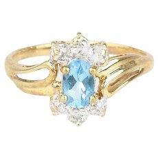 Natural Blue Topaz Diamond Ring 10k Yellow Gold Size 6