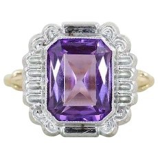 Purple Amethyst Ring 10k Yellow Gold and White Gold Size 6