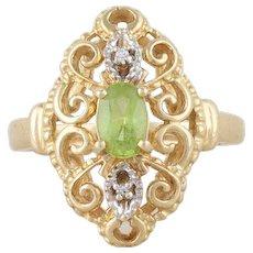 Natural Peridot and Diamond Filigree Navette Ring 10k Yellow Gold Size 6 1/4