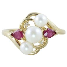 Pearl Ruby and Diamond Ring 10k Yellow Gold Size 7
