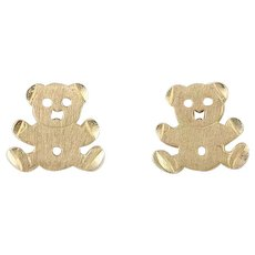 Teddy Bear Earrings 14k Yellow Gold  Stud Post Earrings Woman Girl Childrens