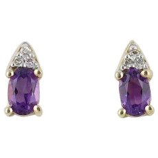 Natural Amethyst Diamond Earrings 10k Yellow Gold Stud Earrings