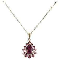 Pink Purple Tourmaline and Diamond Halo Necklace 14k Yellow Gold with 18 inch chain