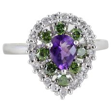 10k White Gold Amethyst Fancy Green and White Diamond Ring Size 7 1/2