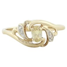 10k Yellow Gold Yellow Topaz and Diamond Ring Size 6