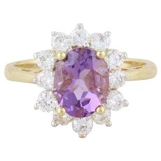 Natural Purple Amethyst Ring 10k Yellow Gold Size 7 1/2