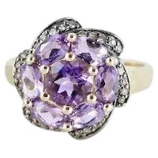 Natural Amethyst and Champagne Diamond Flower Ring 14k Yellow Gold Size 7 1/2
