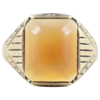 Men's 10k Yellow Gold Carnelian Ring Size 10
