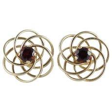 Garnet Spiral Swirl Earrings 10k Yellow Gold