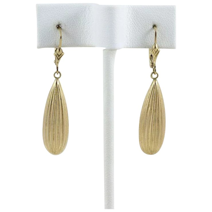 14k Yellow Gold Teardrop Earrings Long Dangle Drop