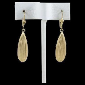 14k Yellow Gold Teardrop Earrings Long Dangle Drop Earrings
