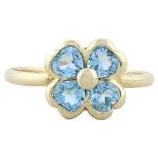 10k Yellow Gold Blue Topaz Flower Ring Size 6 1/2