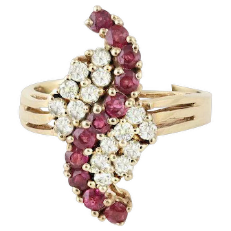 Natural Ruby and Diamond Ring 10k Yellow Gold Size 6 1/4 Cluster Ring