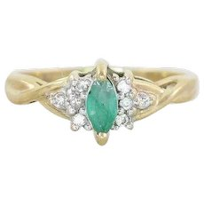 Natural Green Emerald and Diamond Ring 14k Yellow Gold Size 6 3/4
