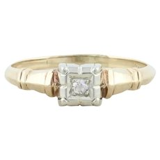 14k Yellow Gold and White Gold Diamond Ring Art Deco Size 5 3/4