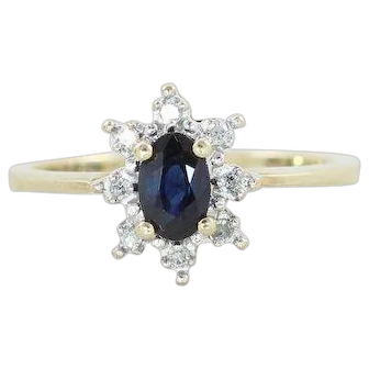 Natural Blue Sapphire and Diamond Ring 10k Yellow Gold Ring Size 6 3/4