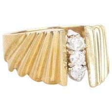 Three Stone Diamond Ring 14k Yellow Gold Size 6 3/4 Thick Band