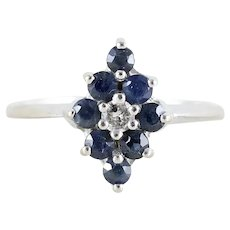 Natural Blue Sapphire with Diamond Ring 14k White Gold  Size 5 1/2