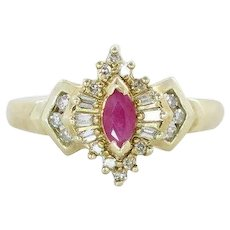Natural Ruby and Diamond Ring Ballerina Ring 10k Yellow Gold Size 6 3/4