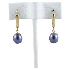 14k Yellow Gold Black Freshwater Pearl Earrings Dangle Drop