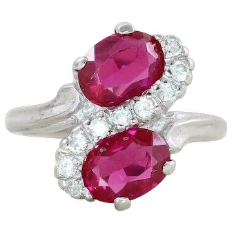 Ruby with White Topaz Ring 10k White Gold Size 6 1/2