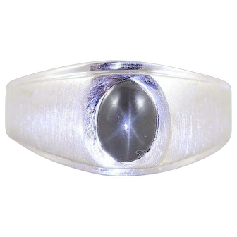 Mens Star Sapphire Ring 10k White Gold Brown Star Sapphire Size 9 1/4