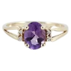 Natural Purple Amethyst and Diamond Ring 10k Yellow Gold Size 6
