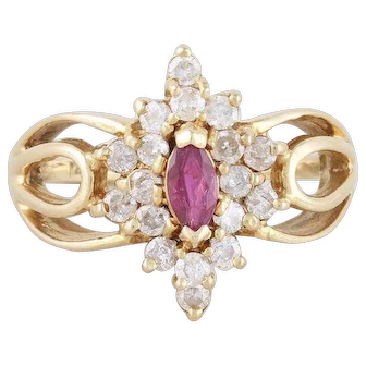 Natural Ruby and Diamond Ring 14k Yellow Gold Size 6 1/4