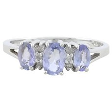 10k Yellow Gold Tanzanite and Diamond Ring Size 7