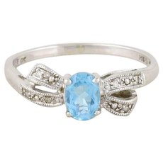 Blue Topaz Diamond Bow Ring 10k White Gold Size 10