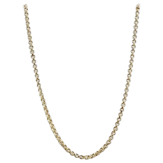 Heavy 10K Yellow Gold Rolo Link Chain Necklace 20 3/4 inch 3.5 mm