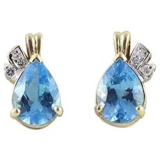 Natural Blue Topaz and Diamond Stud Post Earrings 14k Yellow Gold