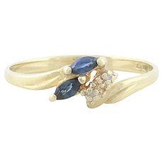 10k Yellow Gold Blue Sapphire and Diamond Ring Size 6 3/4