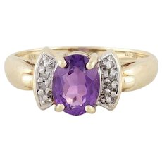 Natural Amethyst Diamond Ring 10k Yellow Gold Size 7 1/4