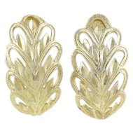 10k Yellow Gold Earrings Leaf Design Half Hoop Earrings