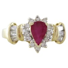 Natural Ruby and Diamond Ring 14k Yellow Gold Size 6