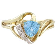 Blue Topaz Diamond Ring 10k Yellow Gold Size 7 1/2