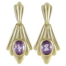 Natural Amethyst Earrings Dangle Drop 14k Yellow Gold
