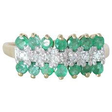 Natural Green Emerald and Diamond Band Ring 10k Yellow Gold Size 7 1/4