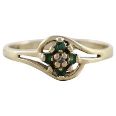 Petite Emerald and Diamond Flower Ring 10k Yellow Gold Size 6