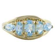 Natural Blue Topaz Band Ring 10k Yellow Gold Size 6